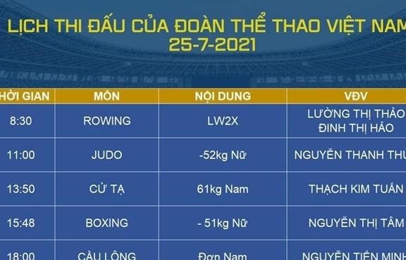 Lịch thi đấu Olympic hôm nay 25/7: 6 vận động viên Việt Nam tranh tài