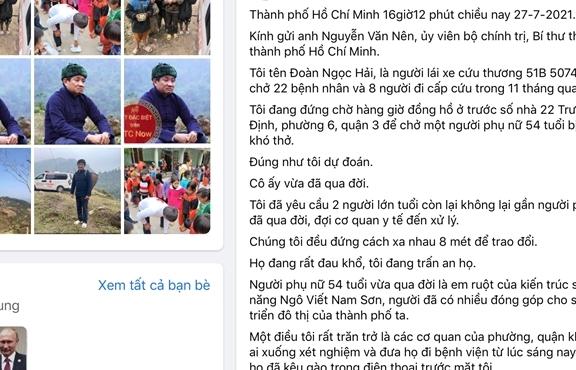 TP.HCM: Quận 3 xác minh thông tin ông Đoàn Ngọc Hải đăng trên Facebook