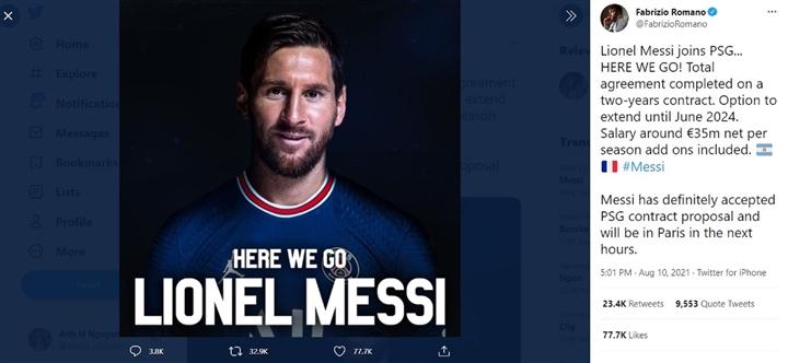 Messi chốt hợp đồng với PSG, lên đường sang Pháp - 1