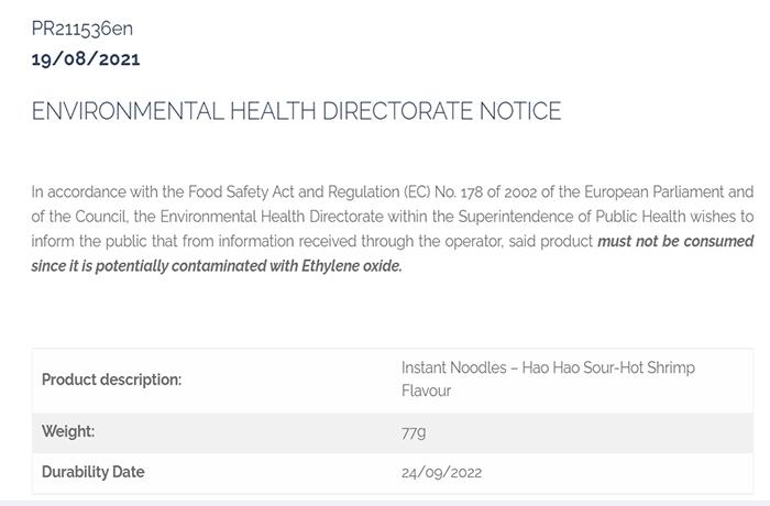 Malta cảnh báo người dân không sử dụng mỳ tôm chua cay Hảo Hảo - 1