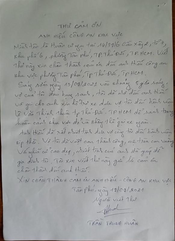 Lá thư cảm ơn gửi người Cảnh sát khu vực tận tâm -0