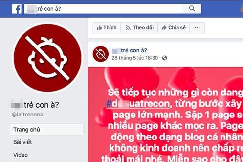nguoi tu xung quan tri trang facebook keu goi bai tru tre em len tieng