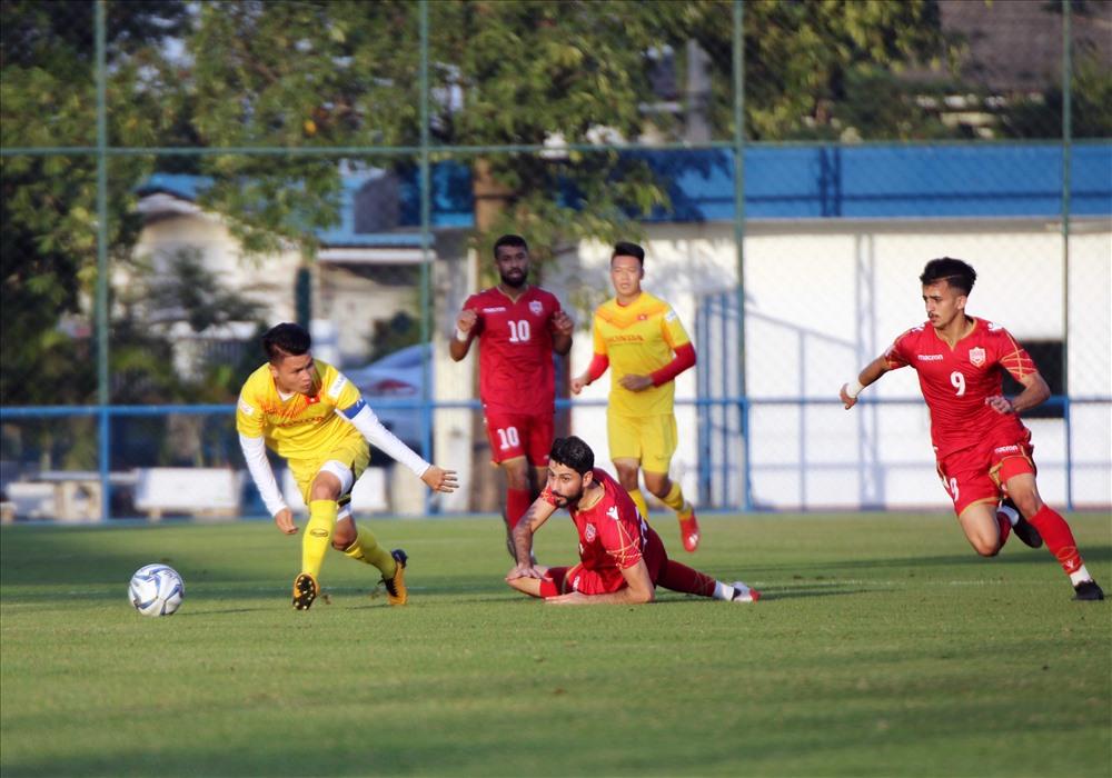 U23 Việt Nam trong trận đấu nội bộ với U23 Bahrain chiều 3.1. Ảnh: VFF