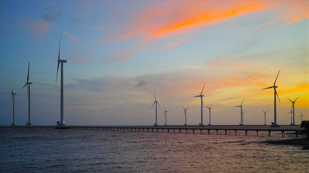 Nhà máy Điện gió Đông Hải 1 tại tỉnh Bạc Liêu. Ảnh: PV
