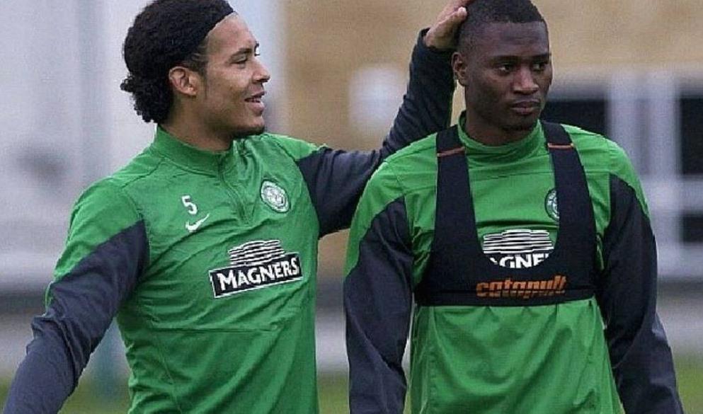Amido Balde khi còn khoác áo Celtic, sát cánh cùng Virgin van Dijk, siêu sao hiện tại của Liverpool. Ảnh: Getty Images.