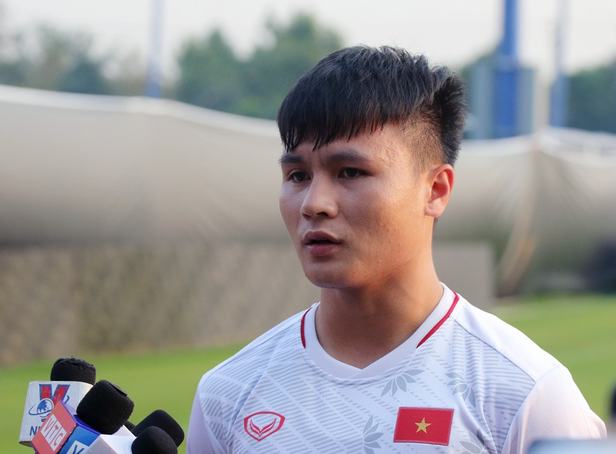 Tiền vệ Quang Hải và các đồng đội rất quyết tâm cho trận đấu sắp tới. Ảnh: VFF