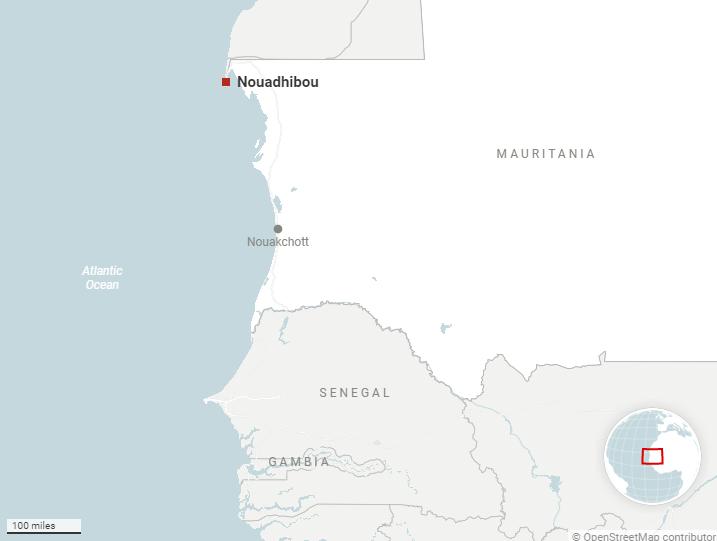 Nouadhibou - thành phố phía bắc Mauritanie, nơi các nạn nhân may mắn sống sót đang được điều trị. Ảnh: AP.