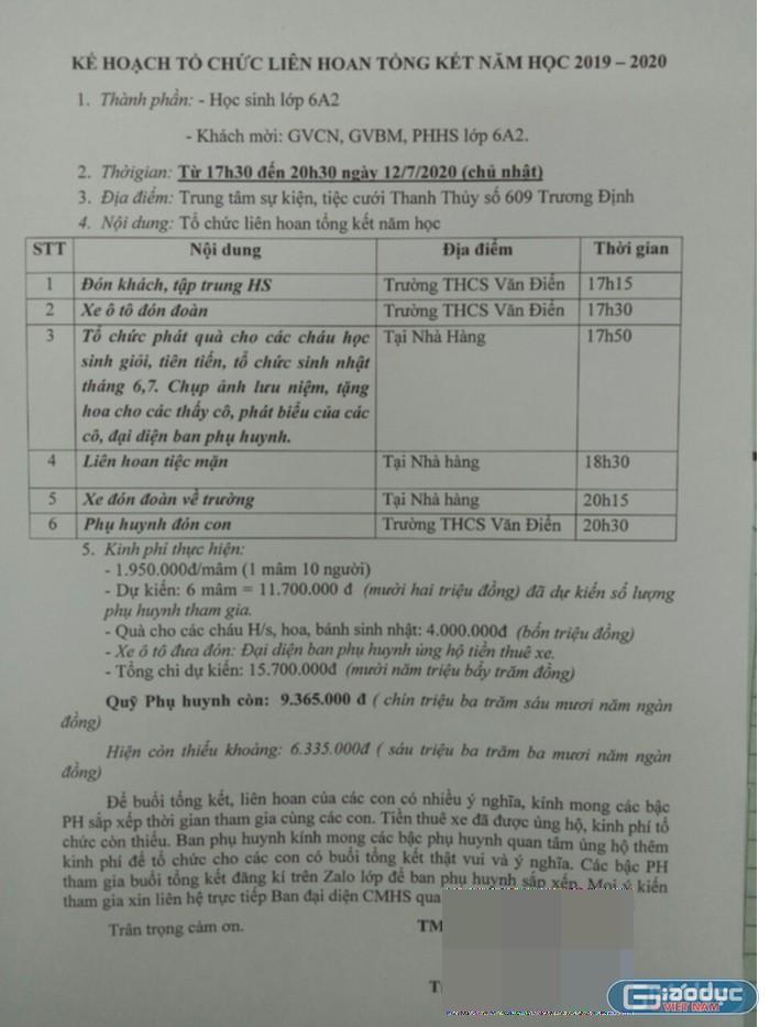 chi gan 16 trieu dong cho buoi lien hoan tong ket phu huynh choang vang