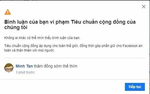 nguoi dung bi facebook chan binh luan bat thuong
