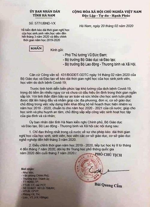 ha nam phat chu tai khoan facebook dang tai van ban gia cho hoc sinh nghi hoc het thang 3