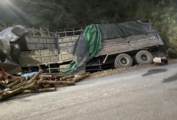 Lật xe chở gỗ, 7 người chết