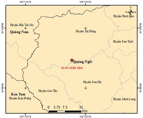 Hai trận động đất ở Quảng Ngãi