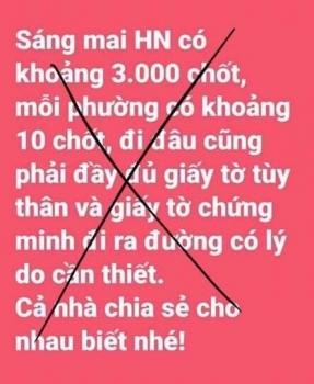 """Thông tin """"Hà Nội lập 3.000 chốt kiểm soát người ra khỏi nhà"""" là bịa đặt"""