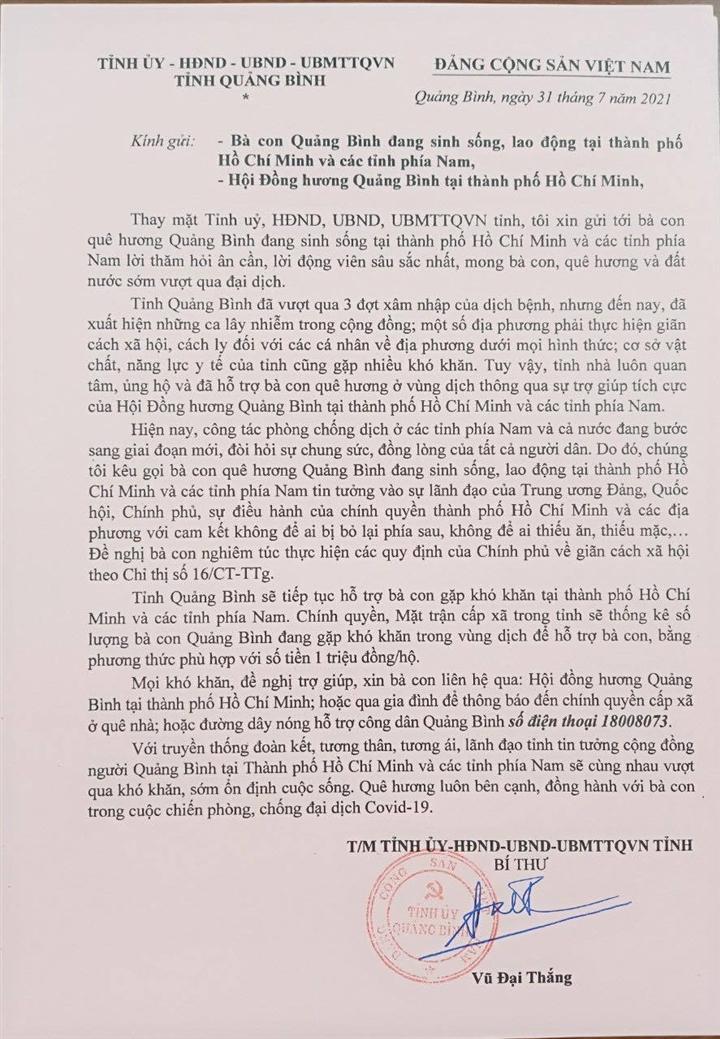 Bí thư Quảng Bình viết tâm thư gửi công dân đang sinh sống tại TP.HCM - 1