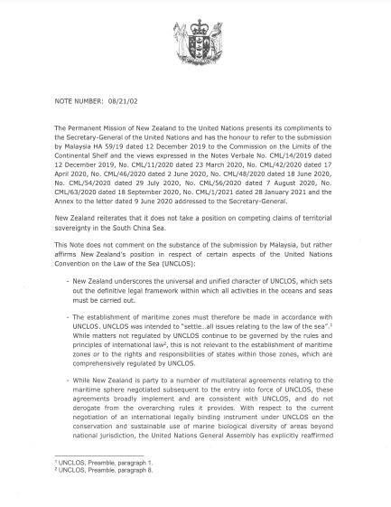 New Zealand lần đầu gửi công hàm tới LHQ, lên tiếng về Biển Đông