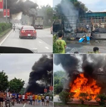Xe tải bốc cháy dữ dội, nhiều con bò bị lửa thiêu chết