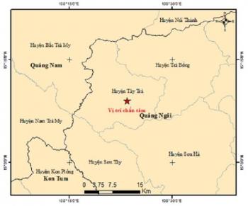 5 phút, Quảng Ngãi xảy ra 2 trận động đất