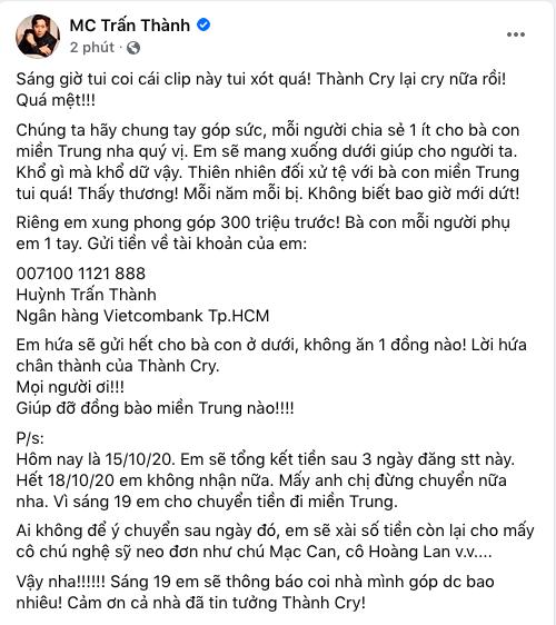 Trấn Thành ủng hộ 300 triệu, kêu gọi giúp đỡ đồng bào miền Trung - Ảnh 2