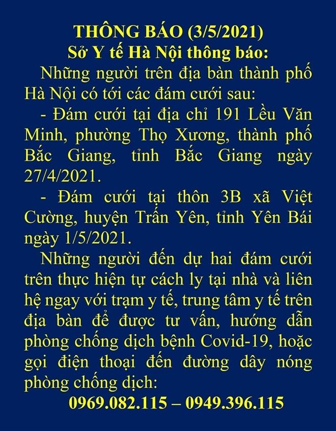Hà Nội tìm người đến 2 đám cưới tại Bắc Giang, Yên Bái - 1