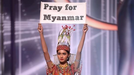 Hoa hậu Myanmar giơ thông điệp cầu nguyện cho đất nước