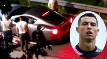 C. Ronaldo chuyển loạt siêu xe khỏi nhà trong đêm