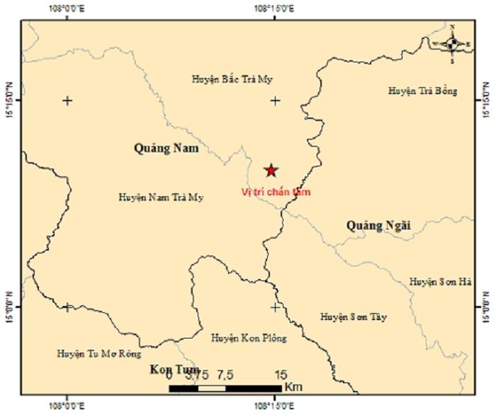 Huyện miền núi ở Quảng Nam lại xảy ra động đất