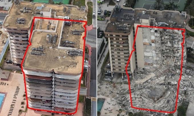 Ảnh trước và sau vụ sập chung cư 12 tầng ở Mỹ