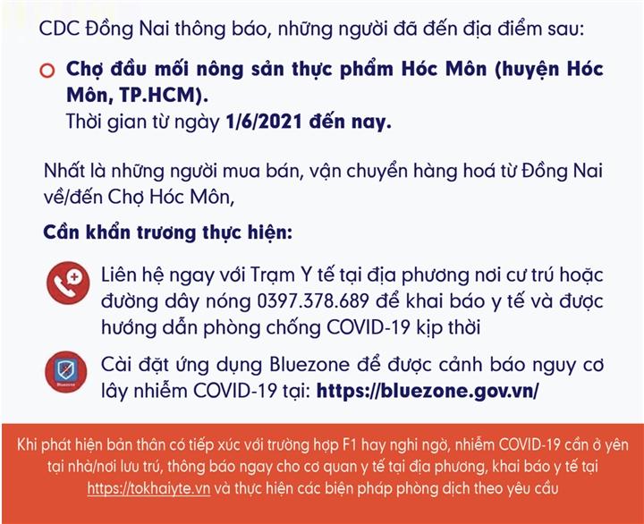 Thêm 6 người dương tính SARS-CoV-2, Đồng Nai phát thông báo khẩn - 1