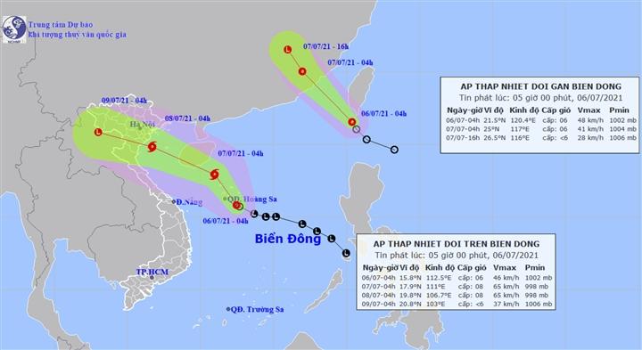 Dự báo thời tiết ngày 6/7: Hai áp thấp nhiệt đới cùng hoạt động trên biển - 1