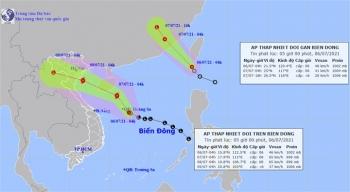 Hai áp thấp nhiệt đới cùng hoạt động trên biển