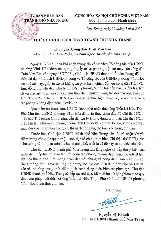 """Chủ tịch UBND TP Nha Trang xin lỗi vụ """"bánh mì không phải là hàng thiết yếu"""""""