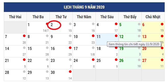 lich nghi le dip quoc khanh 292020