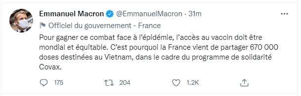 Pháp chia sẻ 670.000 liều vaccine cho Việt Nam