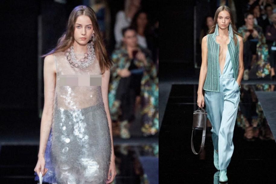 dan mau mac ao trong suot lo vong 1 tai milan fashion week