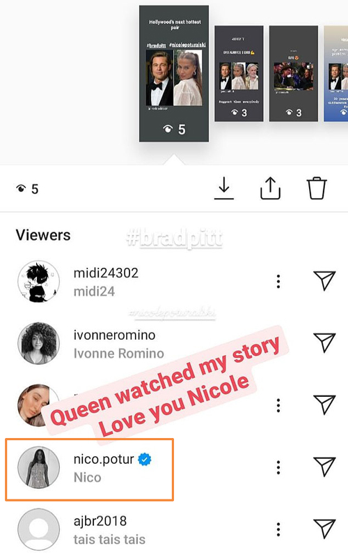 Nicole Poturalski (tên Instagram là nico.potur) âm thầm theo dõi các fan bàn luận về mối tình của cô với Brad Pitt.