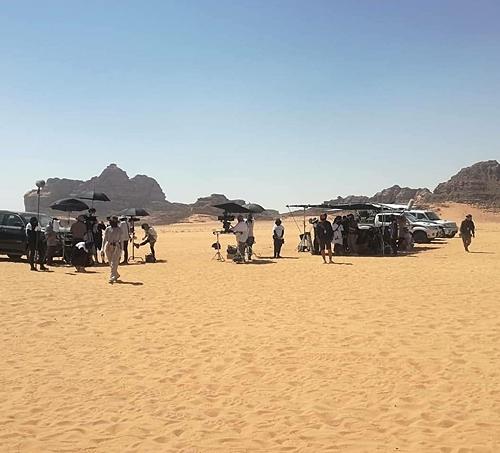 Một bối cảnh quay của phim Bargaining ở Jordan.