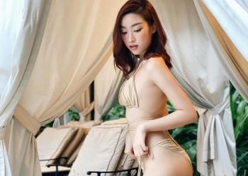 hoa hau do my linh khoe hinh the nong bong