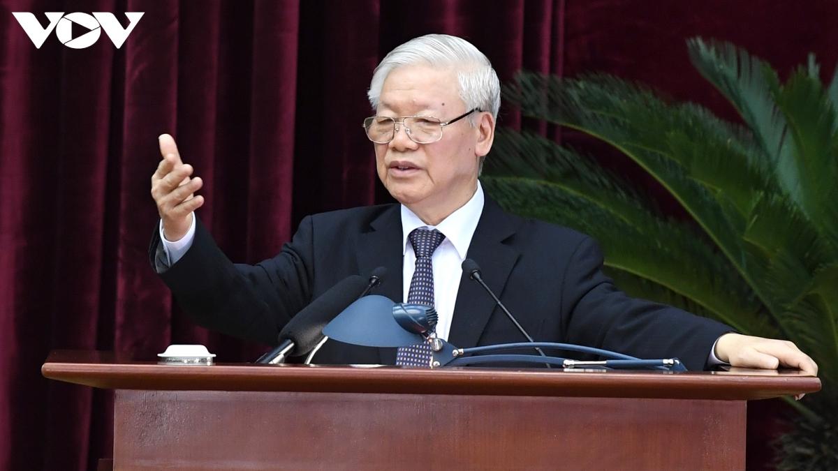 Tổng Bí thư, Chủ tịch nước Nguyễn Phú Trọng phát biểu bế mạc Hội nghị Trung ương 13. Ảnh: Ngọc Thành