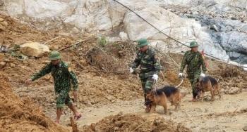 Đội mưa lật đá, đưa chó nghiệp vụ lùng sục tìm người mất tích ở Trà Leng