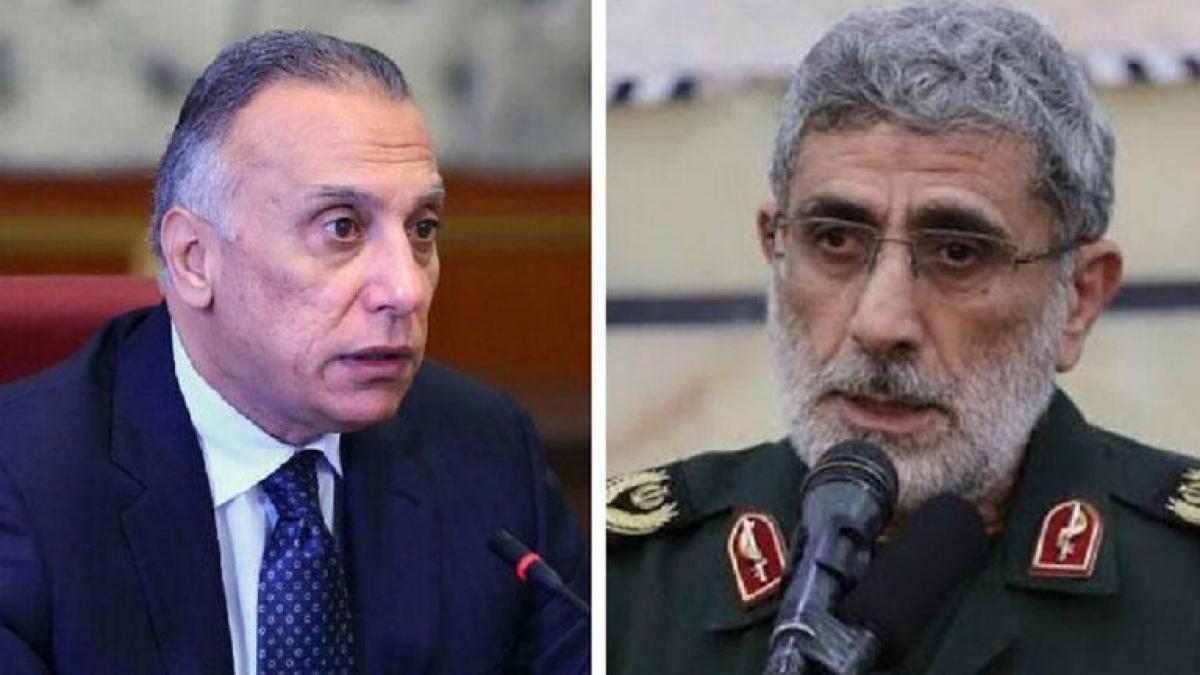 Thủ tướng Iraq Mustafa Al-Kazemi và chỉ huy Lực lượng Quds của Iran Ismail Qaani. Ảnh: RT