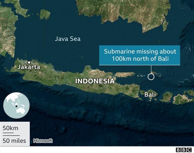 Đã tìm thấy mảnh vỡ tàu ngầm Indonesia mất tích - 2