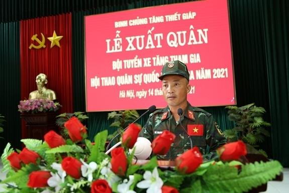 Thượng tá Vũ Mạnh Từ, Phó phòng Quân huấn Binh chủng, Đội phó báo cáo công tác chuẩn bị và kết quả huấn luyện của Đội tuyển tham gia Army Games 2021