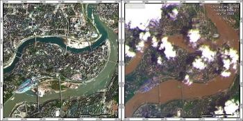 Ảnh vệ tinh các thành phố Trung Quốc ngập sâu trong lũ sông Dương Tử