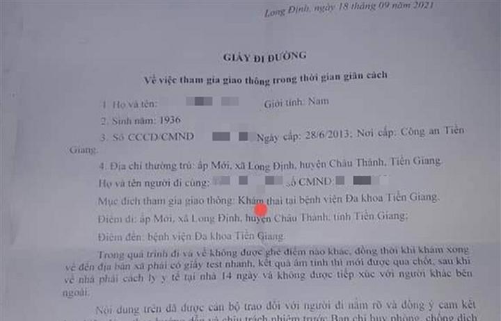 Tiền Giang: Cấp giấy đi đường cho cụ ông 85 tuổi đi... khám thai