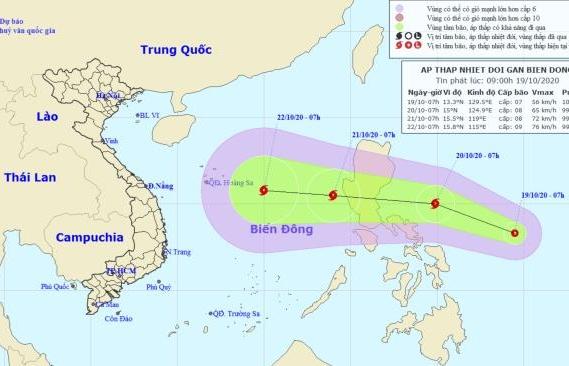 Thêm áp thấp nhiệt đới hướng vào Biển Đông