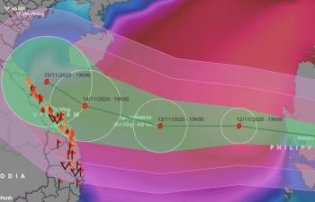 Ba kịch bản hướng di chuyển bão Vamco