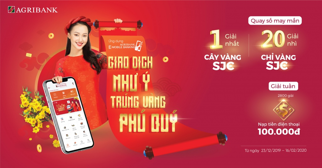 Giao dịch như ý trúng vàng phú quý với Agribank E-Mobile Banking
