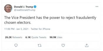 Ông Trump: Phó Tổng thống có quyền bác bỏ đại cử tri gian lận