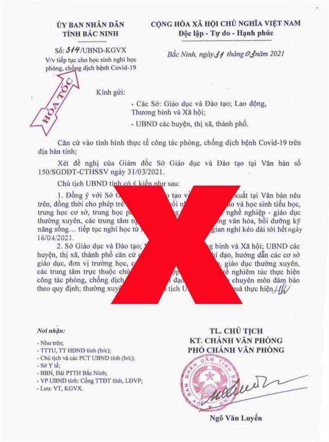 Bắc Ninh truy tìm người giả mạo văn bản cho học sinh nghỉ học từ 1/4