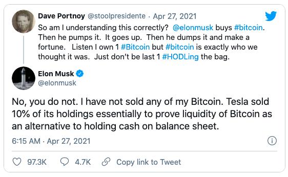 """Elon Musk: """"Tôi chưa bán bất kỳ đồng Bitcoin"""""""